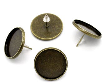 Set of 10 pairs of earring for cabochon 20mm, bronze metal