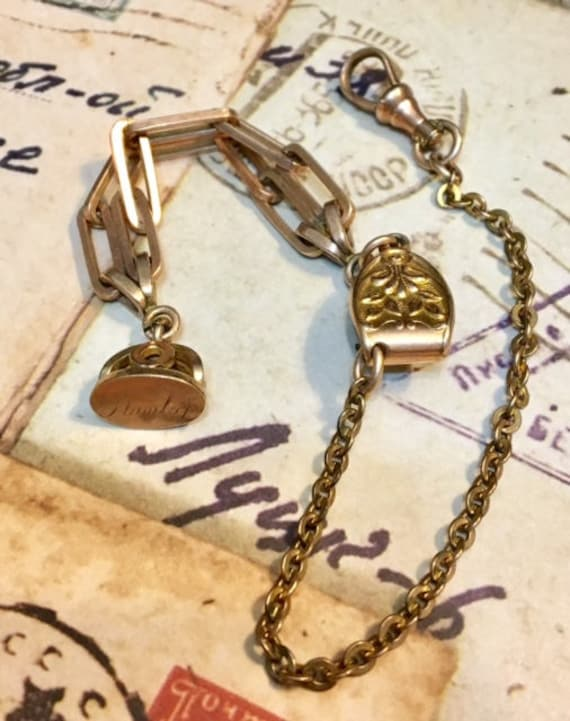 Vintage Watch Chain with Engraved Fob