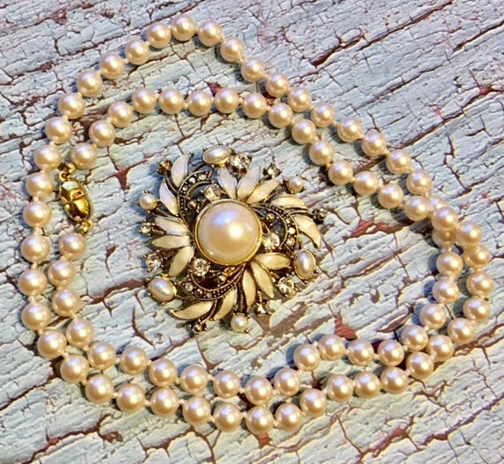 Vintage Pair- Monet Faux Pearl Strand and Faux Pe… - image 1