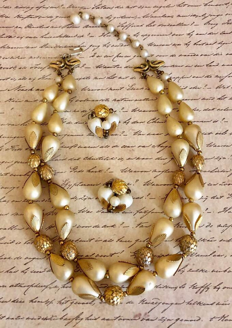 Vintage Deauville Double-Strand Beaded Choker and Earring Set        807