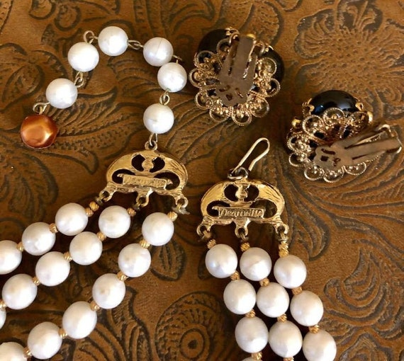 Vintage Deauville Multi-Strand Beaded Choker and Earring Set 830