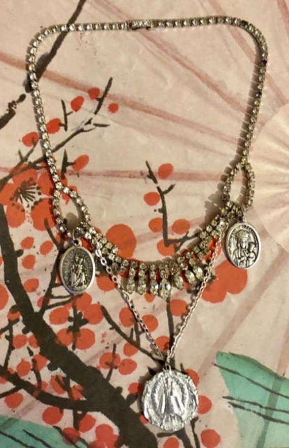 Vintage Re~Purposed Assemblage Statement Necklace      603