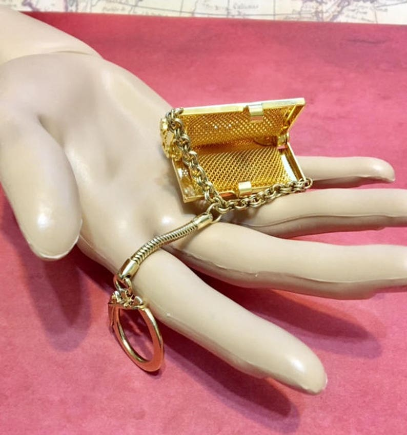 Vintage Rhinestone Faux Pearl Mesh PurseCoin Key Holder