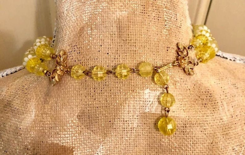Vintage Deauville Double-Strand Beaded Choker and Earring Set 857