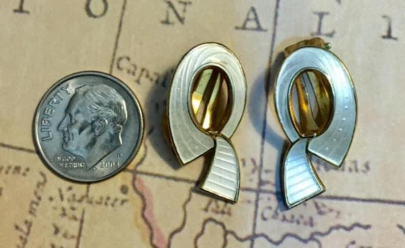 Vintage Ivar Holth Norway Sterling Silver Mid Century Modernist Earrings          361