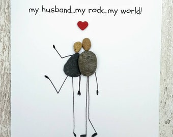 Husband Birthday Card Anniversary Wife Pebble Art Quirky Unusual Personalised My Rock World