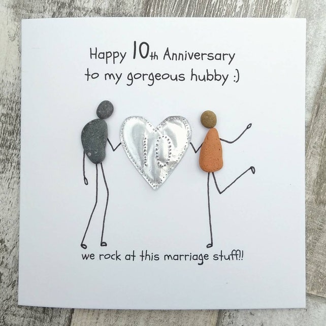 10th anniversary card husband tin anniversary card pebble card etsy