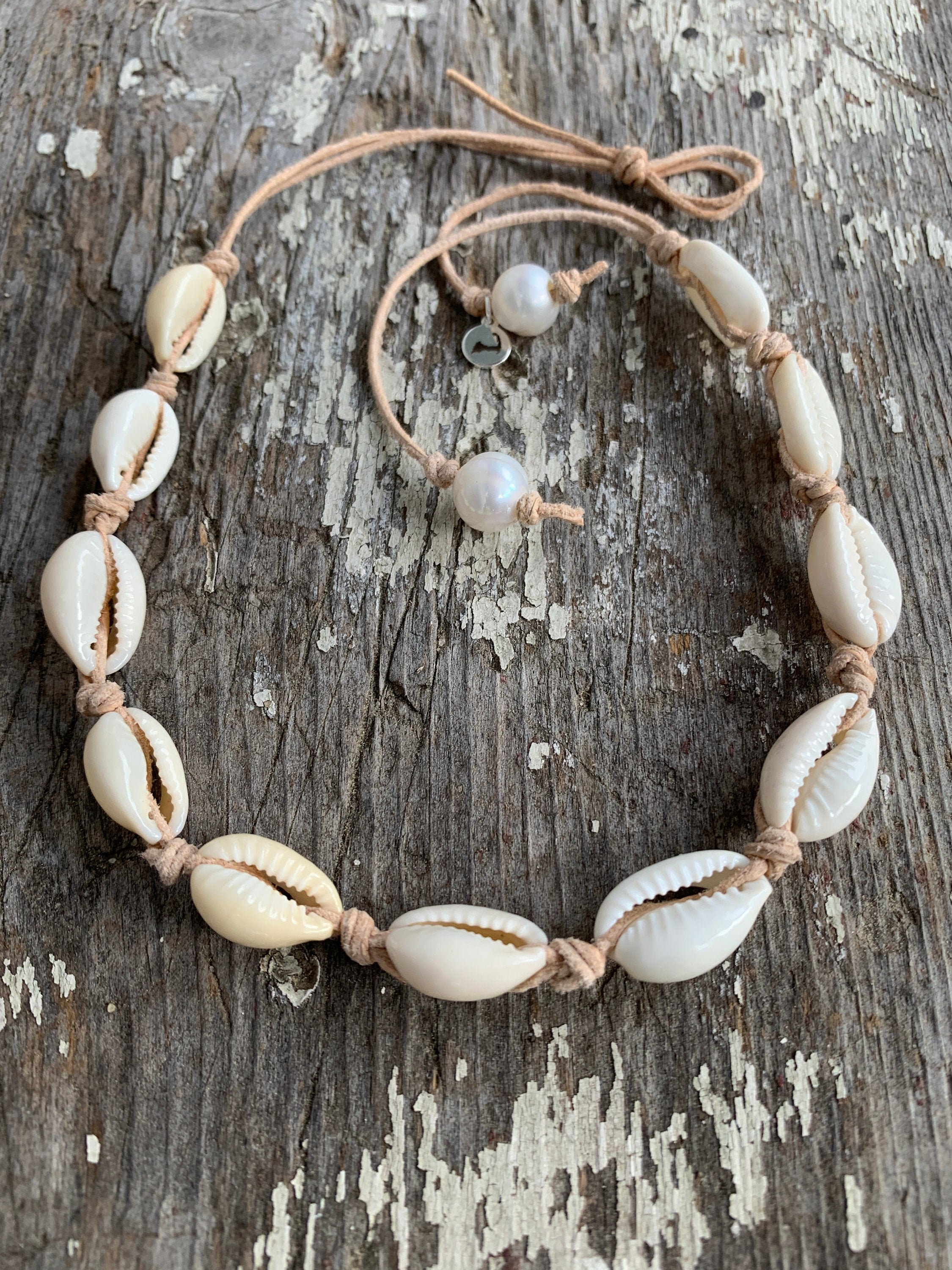 NAUTICAL FRESHWATER PINK PEARL BEADS COWRIE SHELL BEACH NECKLACE JEWELLERY