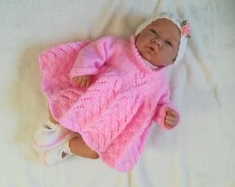 Dress, panties, booties and newborn baby headband set