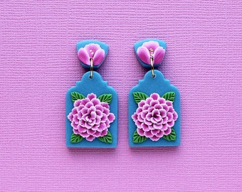Pink Peony arch earrings - Wearable art, polymer clay earrings