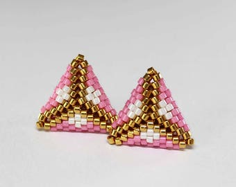 Tiny Stud Earrings, Minimalist Earrings, Modern Earrings, Pink Earrings, Gold Studs