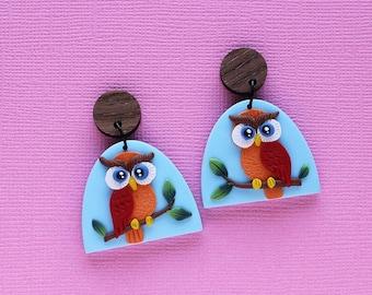 OWL earrings, woodland animals, owl gifts, bird earrings