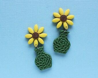 SUNFLOWER earrings, VASE earrings, polymer clay knitted earrings