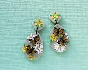 Butterfly GARDEN - polymer clay earrings, spring earrings