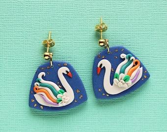 The MAGIC SWAN polymer clay earrings, White swan, Statement earrings
