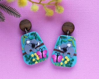 Lazy Koala earrings  - Australian animals earrings, Australiana gift