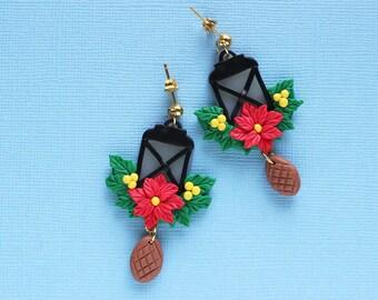 Christmas lantern earrings, Christmas Gift, Red Poinsettia