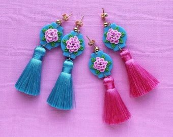 Pink Peony tassel earrings - 2 colour variations