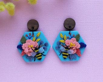 BEE earrings, Flower earrings, Insect earrings, Honeybee, Bumble bee, Honey lover