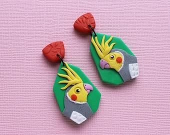 COCKATIEL  polymer clay earrings, Australian bird earrings