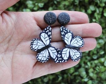 Black and white butterfly earrings, Monochrome butterfly earrings