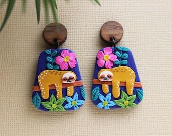 Sloth earrings, jungle earrings, tropical, cute earrings, summer earrings