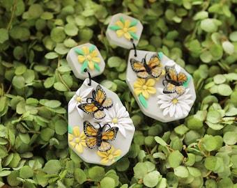 Butterfly GARDEN - polymer clay earrings, realistic butterfly