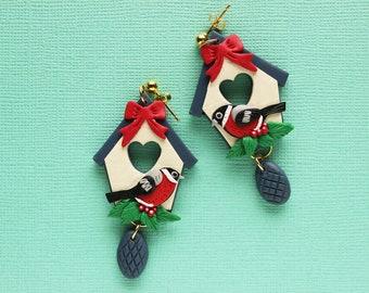 Christmas birdhouse earrings, Redbreast robin earrings