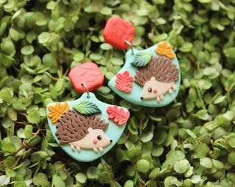 HEDGEHOG earrings, woodland animals jewelry, cute animal earrings