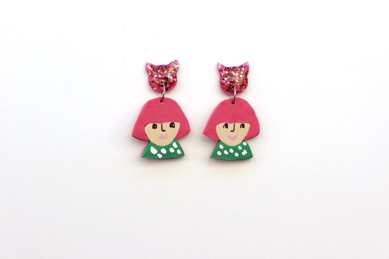 Bird lover Crazy cat and bird ladies collection Catlover Emily Polymer clay earrings Virgo Cute girl Resin earrings