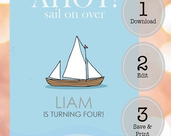 Nautical/Sail Boat Birthday Invitation Template - Instant Download