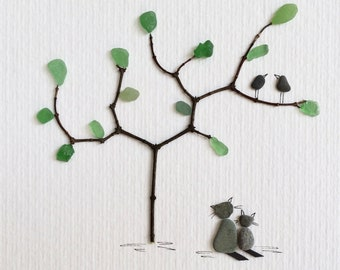 Picture of cats, pebbles, pebbles, Beach glass, pebble art picture, bird couple, gift, birthday, pebble picture