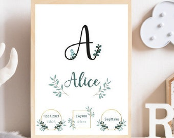 Customizable Birth Poster - Alice Lettering