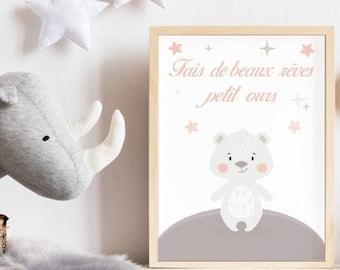 "Birth poster for children's bedroom - model ""Sweet night"""