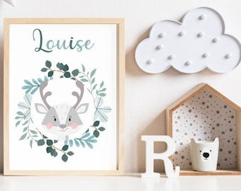 Customizable birth poster - NATURE LOUISE