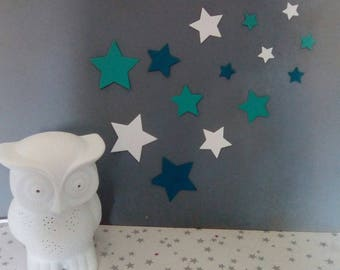 Set of stars in shades of blue wall decor