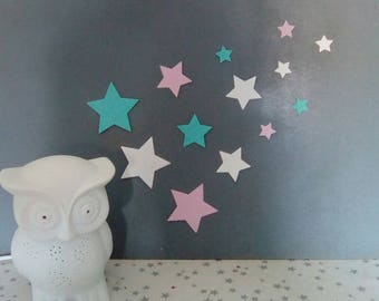 Pastel blue and pink stars paper for wall decoration