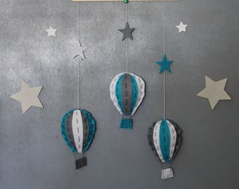 Blue, grey and white hot air balloon mobile