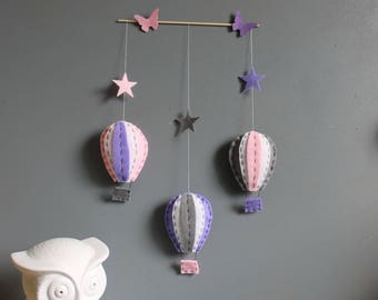 Mobile hot air balloons in shades of pink, purple wall decor
