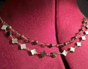 925 Silver necklace, pyrite and smoky quartz