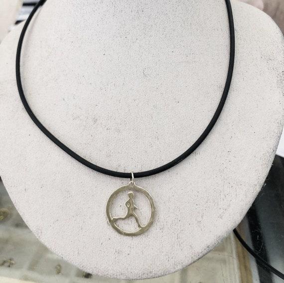10k White Gold Runner Sports Pendant Necklace