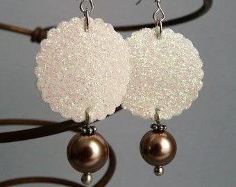 Earrings faux leather and beads