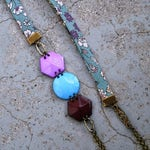 Lecien Teal fabric and cabochons trio necklace