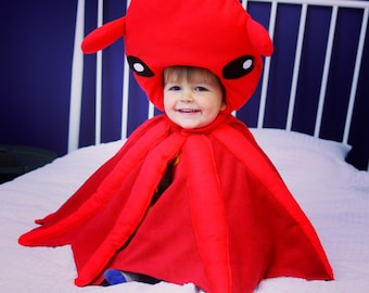 Vampire Squid Costume | FREE DELIVERY | Kids Dress Up, Halloween, Montessori, Squid Hat, Sea Life, Dress Up, Squid Outfit, Fancy Dress