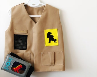 Dinosaur Adventure Costume | Kids Dress Up, Explorer, Zoo Keeper, Fancy Dress, Personalised Gift, Handmade Costume, Christmas, Montessori