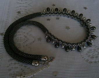 Spiral crocheted necklace HEMATITE GREY and SILVER