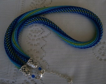 Spiral necklace made with CROCHET in rock beads