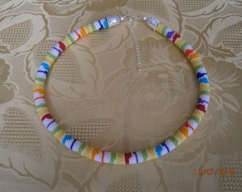 Summery necklace is entirely crocheted seed beads
