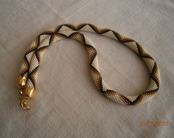Fashion necklace, hand-made crochet seed beads