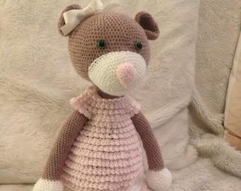 Teddy bear in crochet dress